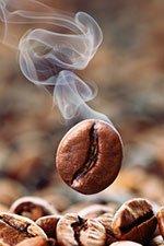 Dampfende Kaffeebohne