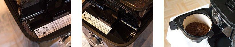 Philips HD7766/00 Wassertankanzeige, Wassereinfüllöffnung, geöffneter Schwenkfilterkorbhalter