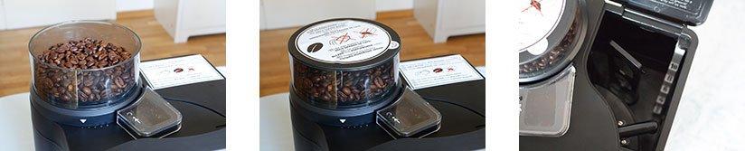 BEEM Fresh Aroma Perfect V2 Bohnenfach geöffnet, Bohnenfach geschlossen, Wassereinfüllöffnung