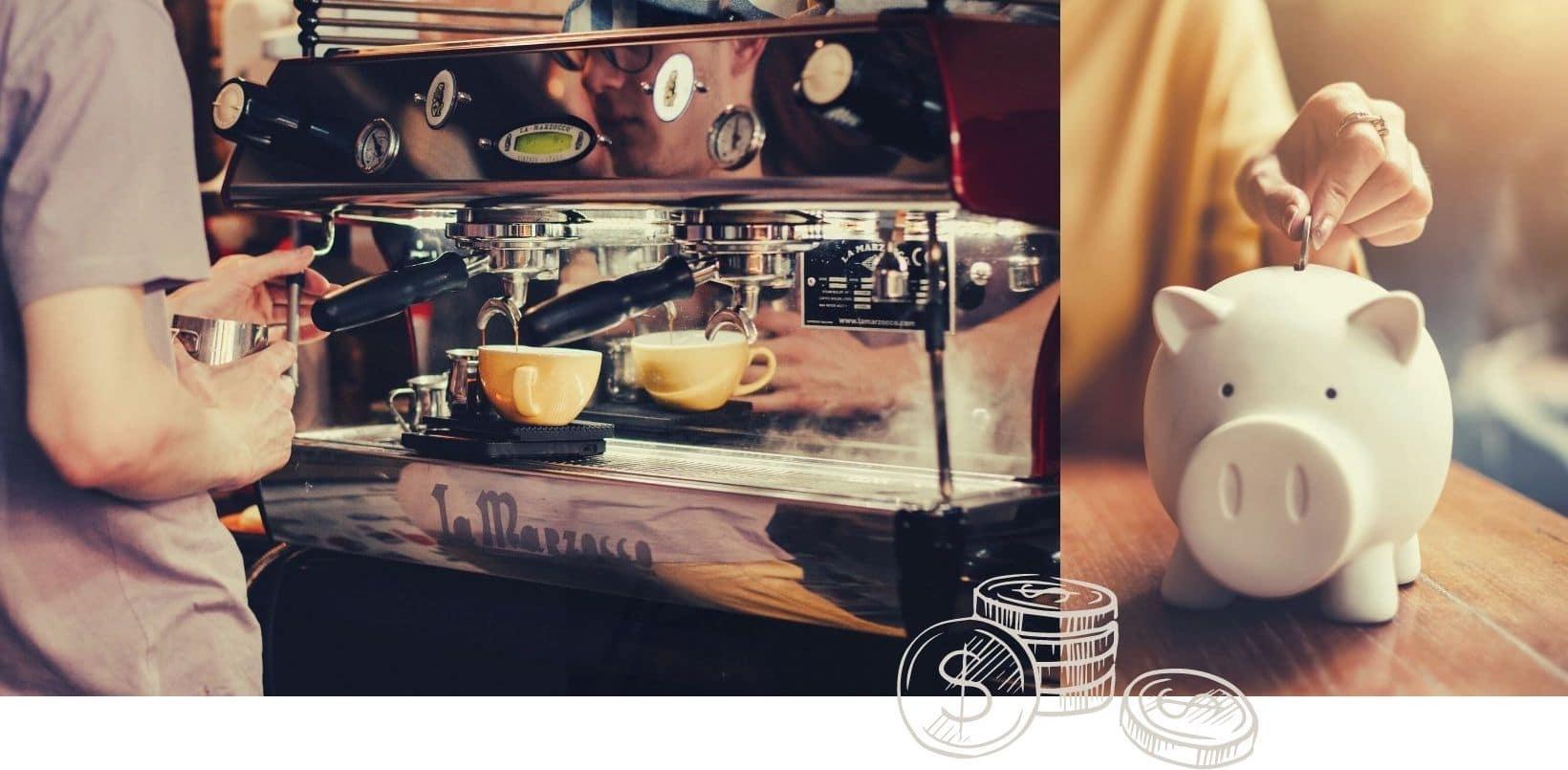 Kaffeemaschine und Sparschweinchen